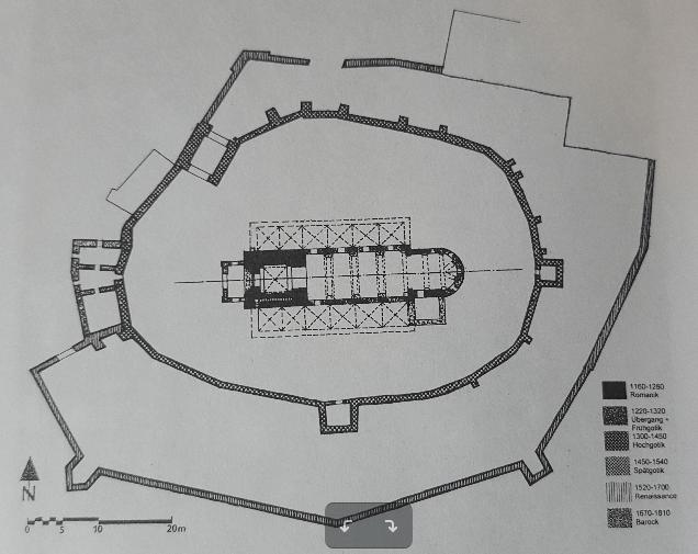 Skizze der Kirchenburg Hosman (Holzmengen)
