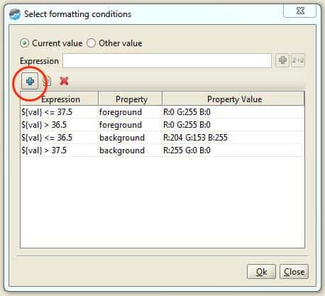 Wertebereiche für die formatting conditions