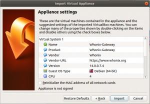 Whonix-Gateway importieren