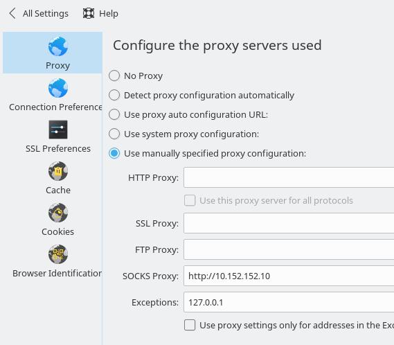 Proxyeinstellung des Whonix Gateways