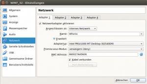 Netzwerkeinstellung für Windows in der Virtualbox