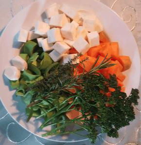 Vorbereitetes Gemüse für den Irish Stew