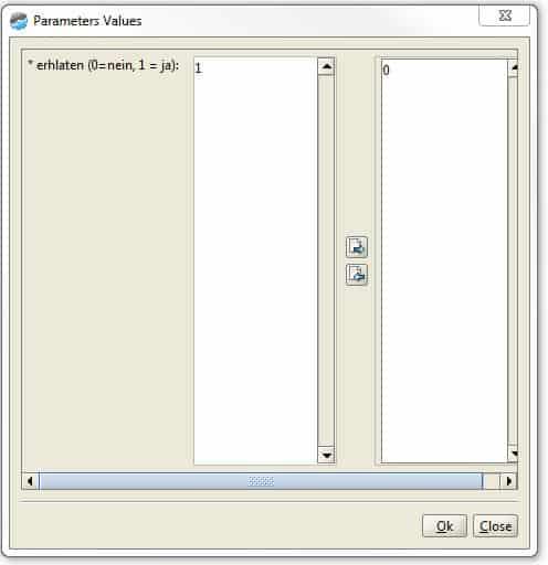 Parameterauswahl für den Anwender