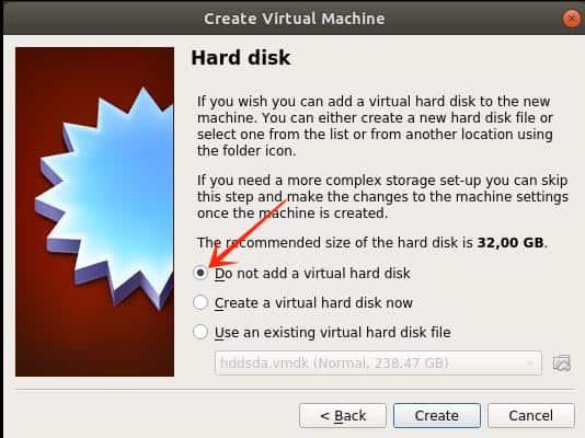Eine virtuelle Disk wird nicht benötigt