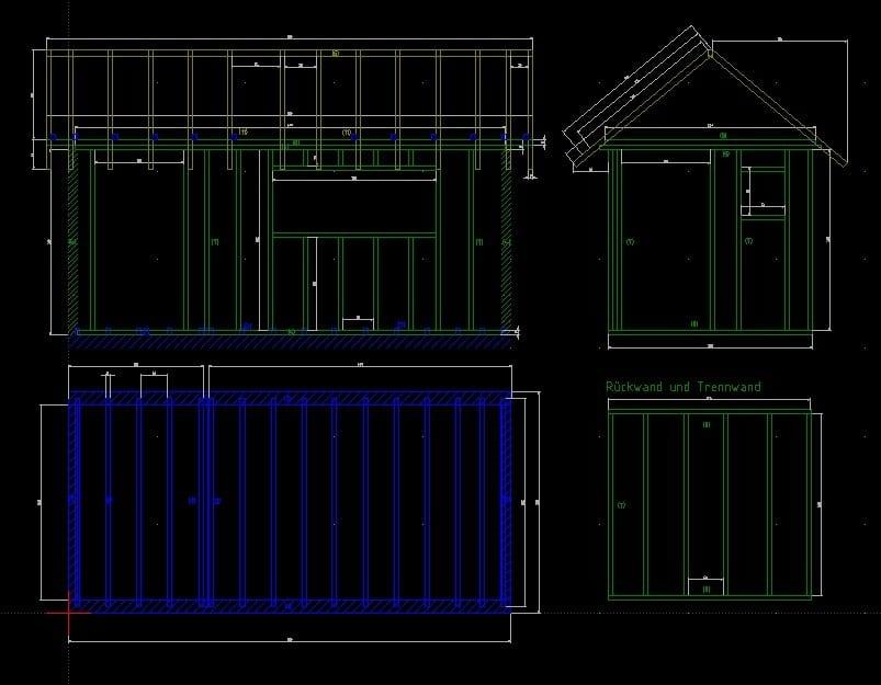 Plan für das Gartenhaus (mit LibreCAD erstellt)