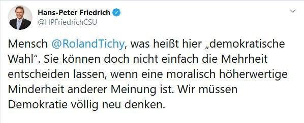 H.P. Friedrich (CSU) auf Twitter