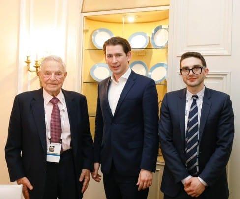 Sebastian Kurz und Soros mit Sohn